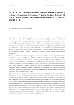 ŠEVČÍK, M. 2013. AISTHESIS Problém estetické události v myšlení