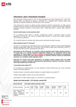 Informácia o dani z finančných transakcií