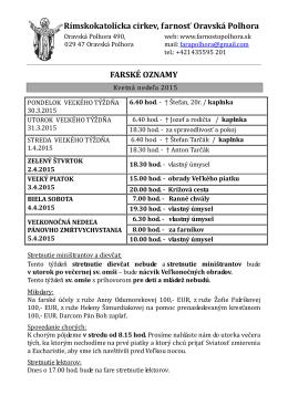 FARSKÉ OZNAMY - Farnosť Oravská Polhora
