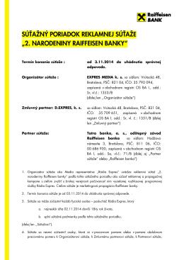 Podmienky súťaže - Raiffeisen banka