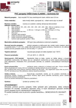 PVC parapety VAŠA trieda CLASSIC – technický list