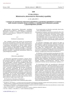 229/2011 Vyhláška Ministerstva zdravotníctva Slovenskej republiky