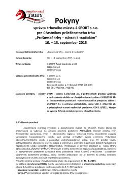 Pokyny správcu - Prešovské trhy