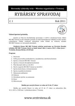 Spravodaj č. 1/2011 - slovenský rybársky zväz