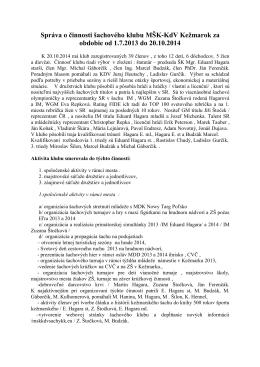 Správa o činnosti ŠO 2013/2014 - MŠK KdV Kežmarok, šachový