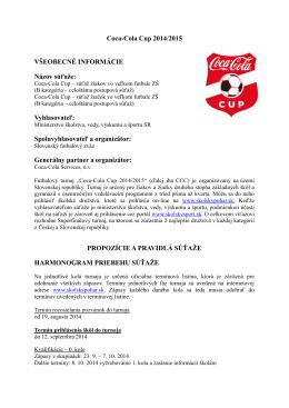 Propozície turnaja Coca-Cola Školský pohár 2014/2015
