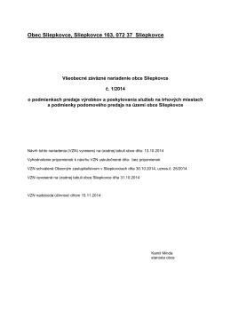 VZN č. 1/2014 - Obec Sliepkovce
