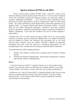 Správa trénera ZCPM za rok 2014