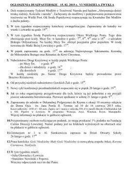 OGŁOSZENIA DUSZPASTERSKIE 01. 02. 2015 r. IV NIEDZIELA