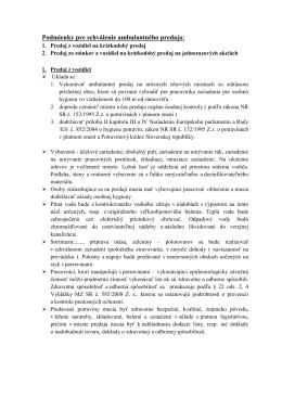 Podmienky pre schválenie ambulantného predaja