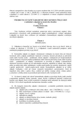 Obecné zastupiteľstvo obce Kendice na svojom zasadnutí dňa 14.12