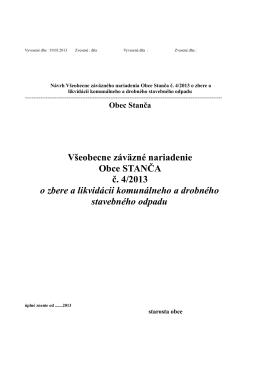 Všeobecne záväzné nariadenie Obce STANČA č. 4/2013