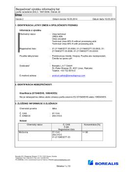 Bezpečnosť výrobku informačný list
