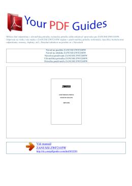 Návod na používanie ZANUSSI ZWF2105W