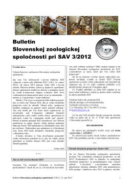 2012/3 - Slovenská zoologická spoločnosť pri SAV