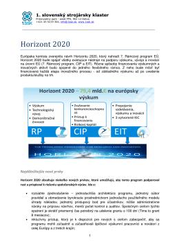 Horizont 2020 - 1. Slovenský strojársky klaster