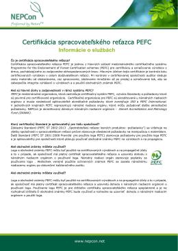 Certifikácia spracovateľského reťazca PEFC