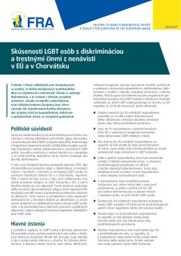 Skúsenosti LGBT osôb s diskrimináciou a trestnými činmi z