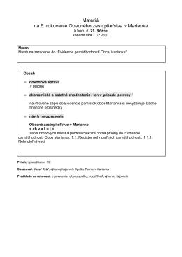 Materiál na 5. rokovanie Obecného zastupiteľstva v Marianke