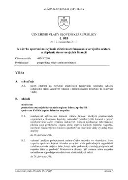 Uznesenia vlády SR č. 805 zo 17. novembra 2010