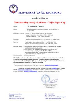 Vajda Paper Cup - Slovak Kickboxing