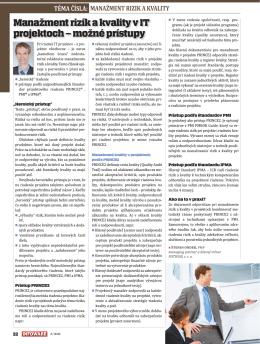 Manažment rizík a kvality v IT projektoch - možné prístupy
