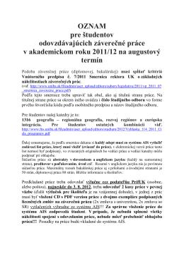 OZNAM o odovzdavani zaverecnych prac 2012 august