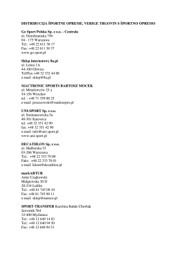 CENNIK HEDONIA SPORT squash`owisko od 01.01.2014