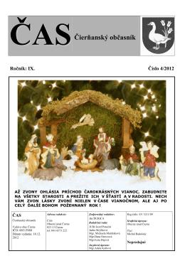 ČAS Čierňanský občasník číslo 4 - december 2012- k