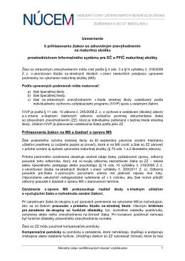 Usmernenie pre prihlasovanie žiakov so ZZ na MS 2015