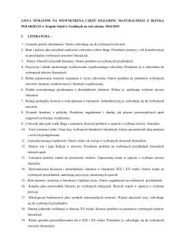 Lista tematów do egzaminu wewnętrznego opracowanego na