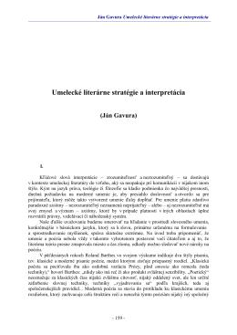 Umelecké literárne stratégie a interpretácia (Ján Gavura)