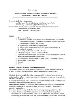 Zápisnica z ustanovujúceho zasadnutia OZ dňa 15
