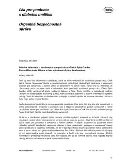 List pre pacienta s diabetes mellitus Urgentná - accu-chek