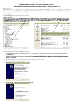 Postup inštalácie ovládača JA-80T pre systém Windows XP