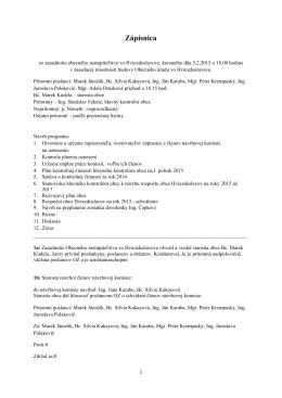 Zápisnica zo zasadnutia Obecného zastupiteľstva