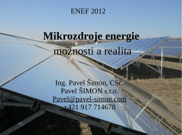 Mikrozdroje energie možnosti a realita
