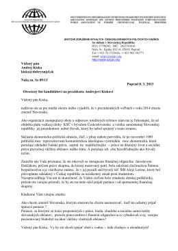 Otvorený list kandidátovi na prezidenta Andrejovi Kiskovi
