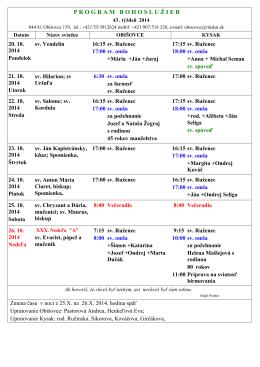 Program sv.omší od 20.10.2014