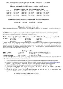 Plán akcií organizovaných výborom MO SRZ Želiezovce na rok