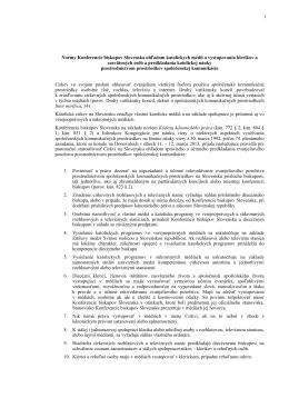 1 Normy Konferencie biskupov Slovenska ohľadom katolíckych
