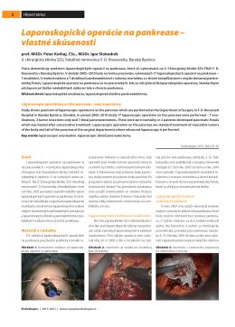 Laparoskopické operácie na pankrease – vlastné