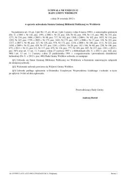 Uchwała XL/274/2014 w sprawie zmiany uchwalenia Statutu