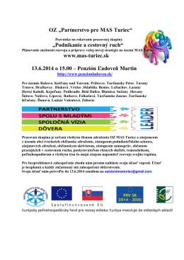 Pozvánka MAS Turiec podnikanie a cestovný ruch 2014 -1