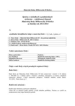 Správa o výchovno - vzdelávacej činnosti 2013/2014