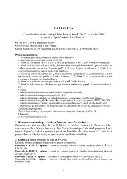 Zápisnica OZ z 25.09.2014