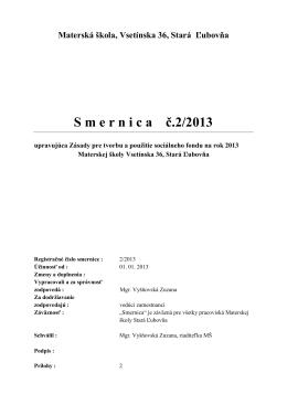 Smernica na rok 2013 - Materska škola Vsetínska