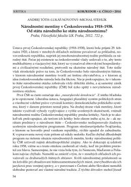 Národnostní menšiny v Československu 1918–1938. Od - Kor