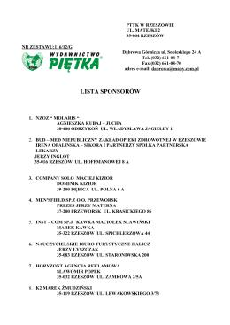 LP Firma Adres Firmy 1 CERSANIT S.A. al. Solidarności 36 25