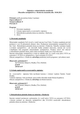 Zápisnica a uznesenia OcZ z 10.6.2014